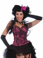 Burlesque Corset Top Bustier Hot Pink Black Lace Adult Costume Sexy Accessory