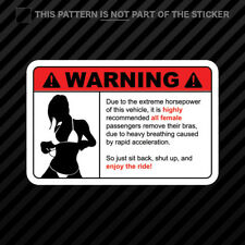 Remove Clothing Warning Sticker Vinyl extreame horsepower hp jdm ladies