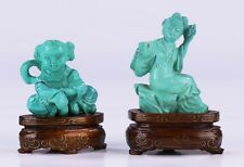 TWO (2) CHINESE TURQUOISE CARVED FIGURES