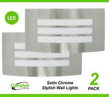 2 x LED Satin Chrome Bunker Wall Lights Rectangular w Grille Outdoor Exterior