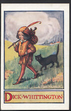 Fairy Tale Postcard - Dick Whittington & Black Cat, Artist Flora White  C1303