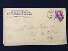 """1891 JAS. R. WATERLOW, REAL ESTATE BROKER NY ADVERTISING COVER+FANCY """"G"""" CANCEL!"""