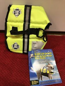 PAWS ABOARD DOG LIFE JACKET PET PRESERVER NEON YELLOW ULTIMATE BUOYANCY XXS