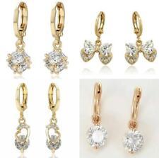 """SALE 9K 9ct""""Gold Filled"""" Lovely Zirconia Dangle Drop Hoop Huggies Earrings Pouch"""