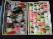 LARGE SHAKESPEARE BOX OF ASSORTED TROUT FLIES.GOOD COLLECTION.