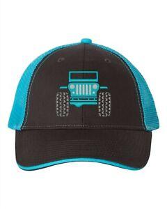 Jeep Hat - Low Profile Trucker Cap - Charcoal/Neon Blue/Bikini/Chief/Hydro Blue