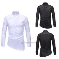 Luxury Mens Slim Fit Irregular Shirt Long Sleeve Dress Shirts Casual Shirt Tops