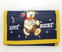Tri-Fold Nylon Kids Girls Bear Wallet 5 Pocket & Zipped Coin Purse Blue