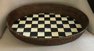 Mackenzie Childs Oval Large Rattan & Enamel Courtly Check Tray - Displayed