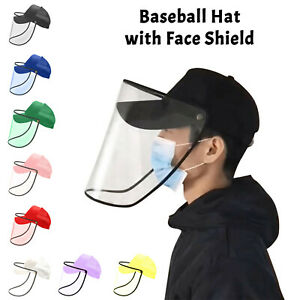 Unisex Baseball Hat Cap Full Face Shield Anti-Saliva Protective Removable Visor