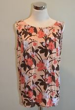 Ann Taylor Loft Outlet Knit Sleeveless Floral Tropical Blouse Top Tank Medium