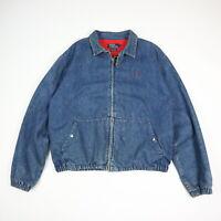 Vtg Polo Ralph Lauren Denim Harrington Jacket Flannel Lined Faded Blue USA LARGE