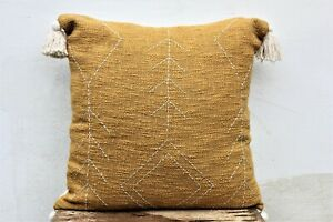 Mustard Color 20 X 20 Cotton Handwoven Pillow Cover with tassels Sofa Cushion