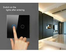 1Gang Black Crystal Glass Panel Home Smart Touch Sensor Wall Light ON/OFF Switch