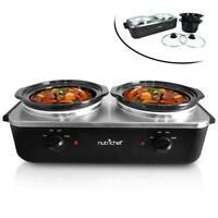 NutriChef PKBFWM26 Dual Pot Electric Slow Cooker Food Warmer / Buffet Warming