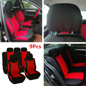 9Pcs 5-Seat Car Seat Cover Auto Front Rear Interior Seat Protector Accessories
