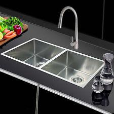 865 x 440mm Handmade Kitchen Laundry 1.2mm Sink w/Strainer Waste Topmount/under