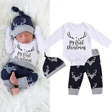 3PCS Newborn Baby Boy My First Christmas Romper Deer Pant Hat Christmas Outfits