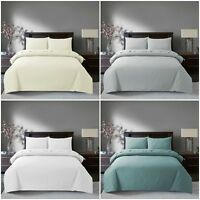 100% Egyptian Cotton Duvet Quilt Cover & Pair Pillowcases Bedding Set All Sizes