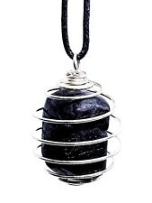 Black Tourmaline Protection Gemstone Pendant Tumble Stone Cage Cord Necklace