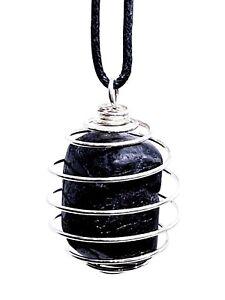 Black Tourmaline Pendant Protection Large Gemstone Tumble stone Cage Necklace