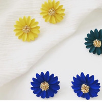 🌺Blue & Yellow Flower Petals Into The Bloom Stud Earrings 14K gold plate 2 Pair