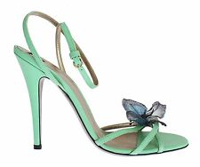 NEW $740 DOLCE & GABBANA D&G Shoes Green Strappy Leather Pumps s. EU39 / US8.5