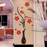 3D Wall Sticker Acrylic DIY Vase Flower Tree Wall Stickers Decal Wall TOP