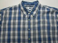 Gap Button Up Shirt Adult 2XL XXL Blue Striped Cotton Short Sleeve Casual Mens*