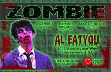 ZOMBIE  plastic ID card Drivers License -