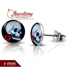 7mm | Stainless Steel 4-Tone Ghost Skull Rose Flower Circle Stud Biker Earrings