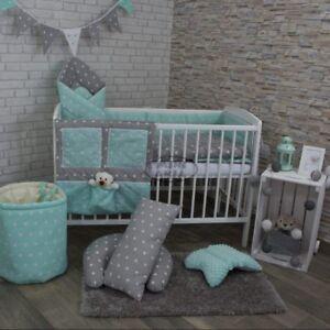 2/3/5 Piece Baby Bedding Set 120x90 or 135x100cm-Antiallergic- Stars Grey/Green