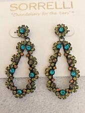 RETIRED SORRELLI PARADISE TEAL BLUE AND GREEN STATEMENT EARRINGS, NWOT