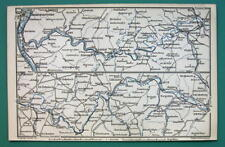 1884 MAP Baedeker - GERMANY Rhine River Between Koblenz Nassau Limburg Wetzlar