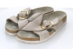 Q22 $140 Women's Sz 40N Birkenstock Siena Big Buckle Suede Hard Footbed Sandal