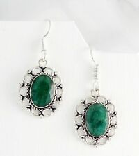 GREEN EMERALD SILVER EARRINGS, OVAL FACETED GEMSTONES, HEALING CRYSTALS