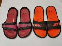Under Armour Womens 4-D Foam Slides Slip On Flip Flop sandals  Size 9 Lot of 2