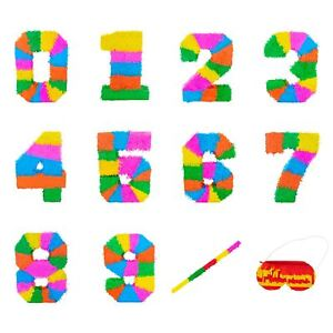 Party Pinata Pinatas with Buster Stick Blindfold Mask Birthday Game Numbers 0-9