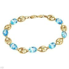 STUNNING SOLID 10K YELLOW GOLD GENUINE 12.11 CTW TOPAZ BRACELET - U$1430