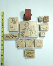 Winter Christmas Wooden Rubber Stamps Lot of 12                 *C2