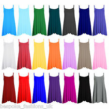 Womens Plain Cami Stretchy Flared Ladies Swing,Mini Dress Long Vest Top 8-22