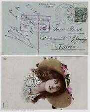 """#1916 R. NAVE """"REGINA ELENA"""" ANNULLO SU 5 c. LEONI + RETTANGOLO VIOLA CENSURA.."""
