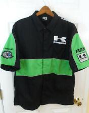 Kawasaki Snap Front Short Sleeve Shirt Mens Sz L Green Black