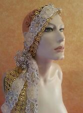 Gatsby 20's Flapper Gold Silver Illusion Jewel Mesh Crystal Bridal Headpiece