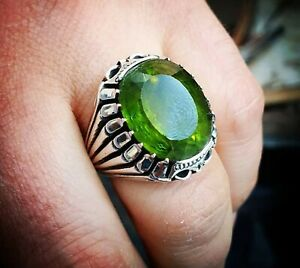 Solid 925 Sterling Silver Peridot Gemstone Signet Boys Mens Ring Jewelry