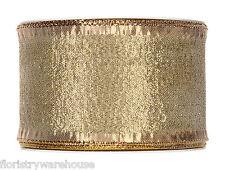 Metallic Gold Christmas fabric ribbon 60mm x 25m roll