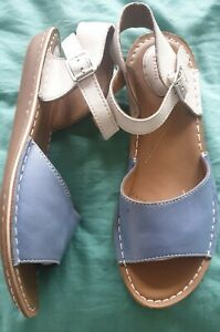 Clarks flat blue and white sandals