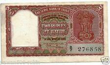 "INDIA RS 2 RAMA RAU NOTE XF B-1 PREFIX ""B"" 1950 GUJ 2 ON FACE DEFECTIVE HINDI"
