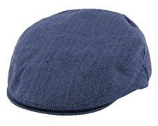 Failsworth Silk Mix Flat Cap in Navy Blue Herringbone