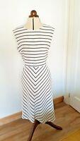 Worn Once M&S Collection Ivory & Black Stripe Lined Sleeveless Midi Dress UK 14